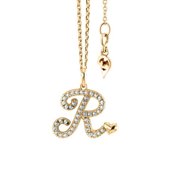 """Anhänger """"Poesia"""" 750GG, Buchstabe """"R"""", 42 Diamanten Brillant-Schliff 0.17ct TW/vs"""