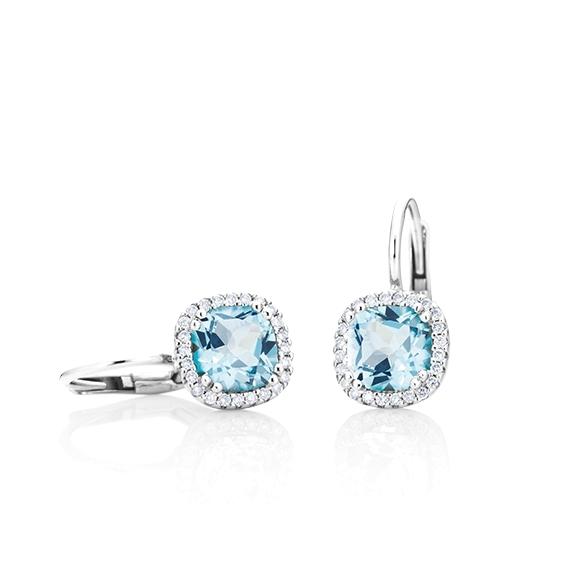 "Ohrhänger ""Espressivo"" 750WG, Topas sky blue antik 6x6 mm ca. ???ct, 48 Diamanten Brillant-Schliff 0.14ct TW/si"