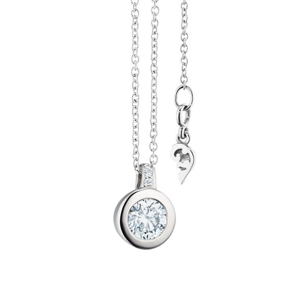 """Collier """"Diamante in Amore"""" 750WG Zargenfassung, Brillantöse, 1 Diamant Brillant-Schliff 0.33ct TW/vs1 GIA Zertifikat, 4 Diamanten Brillant-Schliff 0.01ct TW/vs1, Länge 45.0 cm, Zwischenöse bei 42.0cm"""