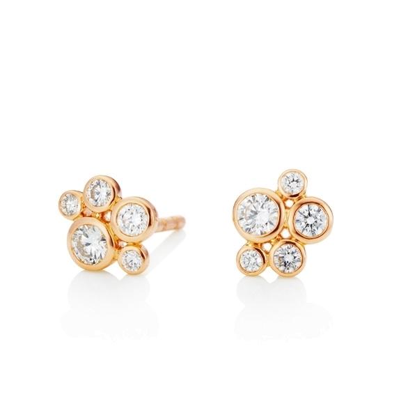 "Ohrstecker ""Prosecco"" 750RG, 10 Diamanten Brillant-Schliff 0.36ct TW/vs"