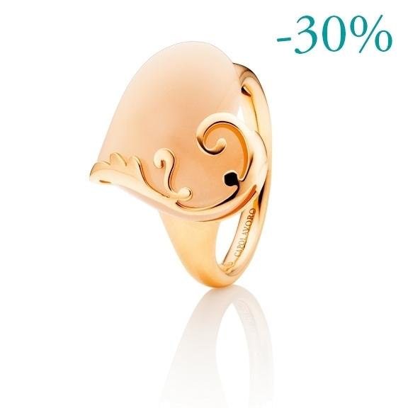 """Ring """"Capolavoro nel Cuore"""" 750RG, Mondstein champagner Cabochon 18.0 x 15.0 mm ca. 10.00ct"""