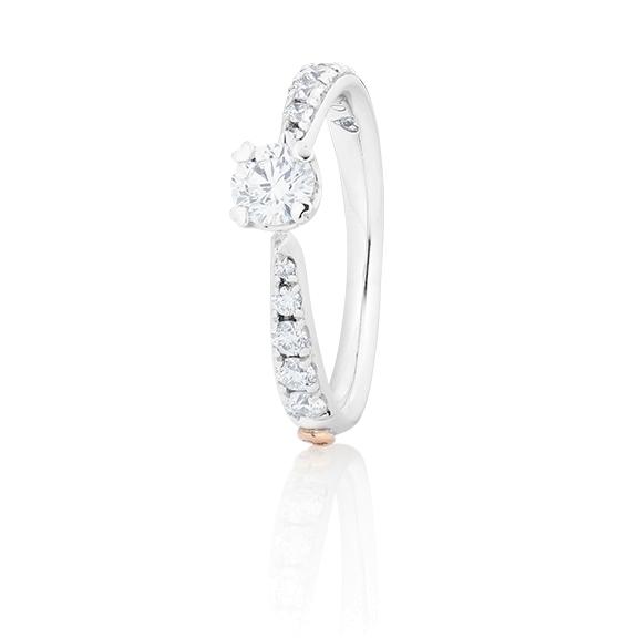 "Ring ""Romantic"" 750WG 4-er Krappe, 1 Diamant Brillant-Schliff 0.33ct TW/vs1, GIA Zertifikat, 10 Diamanten Brillant-Schliff 0.28ct TW/vs1"