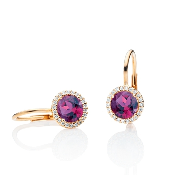 "Ohrhänger ""Espressivo"" 750RG, Granat Royal Purple facettiert Ø 6.0 mm ca. 1.60ct, 44 Diamanten Brillant-Schliff 0.12ct TW/si"