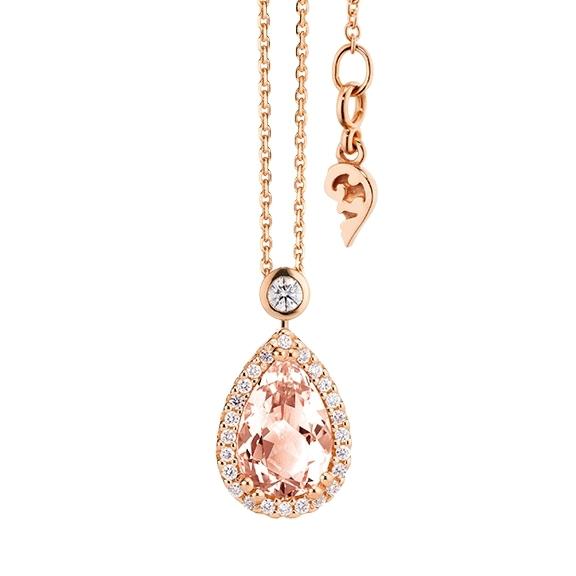 """Collier """"Espressivo"""" 750RG Morganit Tropfen 12.0 x 8.0 mm ca. 2.75ct, 31 Diamanten Brillant-Schliff 0.22ct TW/si, Länge 45.0 cm Zwischenöse bei 42.0 cm"""