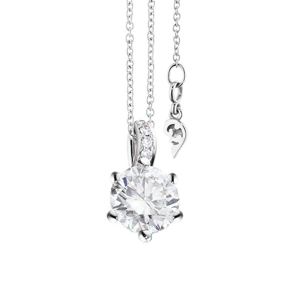 """Collier """"Diamante in Amore"""" 750WG 6-er Krappe, Brillantöse, 1 Diamant Brillant-Schliff 1.00ct TW/vs1 GIA Zertifikat, 5 Diamanten Brillant-Schliff 0.03ct TW/vs1, Länge 45.0 cm, Zwischenöse bei 42.0 cm"""