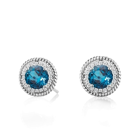 "Ohrstecker ""Amore mio"" 750WG, Topas London blue facettiert Ø 4.0 mm ca. 0.60ct, 32 Diamanten Brillant-Schliff 0.10ct TW/si"