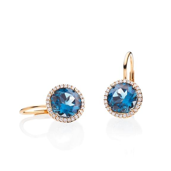 """Ohrhänger """"Espressivo"""" 750RG, Topas London blue facettiert Ø 9.0 mm, 56 Diamanten Brillant-Schliff 0.20ct TW/si"""