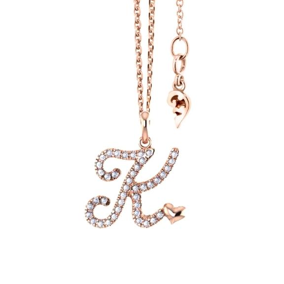 """Anhänger """"Poesia"""" 750RG, Buchstabe """"K"""", 42 Diamanten Brillant-Schliff 0.15ct TW/vs"""