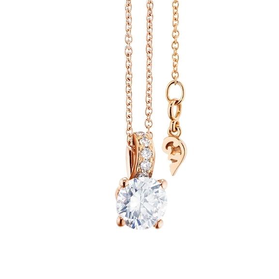 """Collier """"Diamante in Amore"""" 750RG 4-er Krappe, Brillantöse, 1 Diamant Brillant-Schliff 0.70ct TW/vs1 GIA Zertifikat, 5 Diamanten Brillant-Schliff 0.02ct TW/vs1, Länge 45.0 cm, Zwischenöse bei 42.0 cm"""