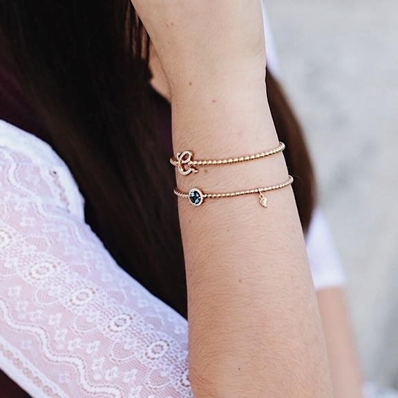 "Armband ""Poesia"" 750WG, Buchstabe ""D"", 42 Diamanten Brillant-Schliff 0.15ct TW/vs1, Innenumfang 17.0 cm"