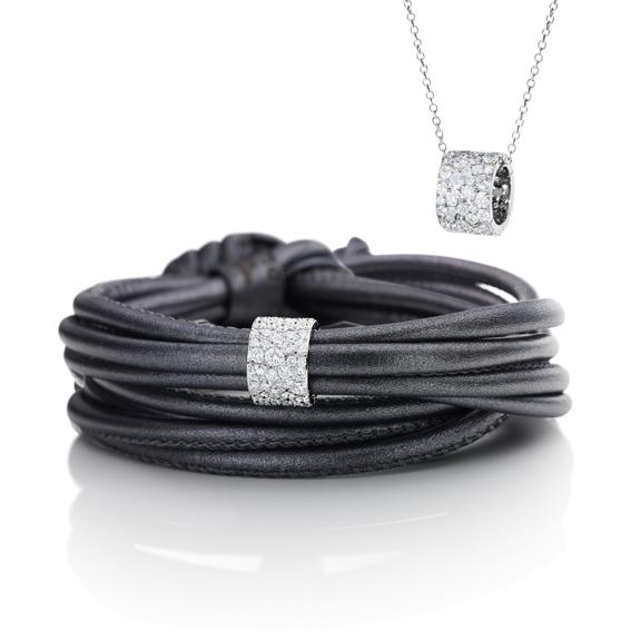 "Anhänger/Schmuckelement ""Vulcano"" 750WG, 83 Diamanten Brillant-Schliff 1.54ct TW/vs"
