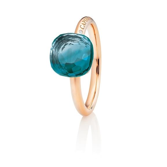 "Ring ""Happy Holi"" 750RG, Topas London blue Cabochon  9.0 x 9.0 mm facettiert ca. 5.20ct, 1 Diamant Brillant-Schliff 0.004ct TW/vs1"