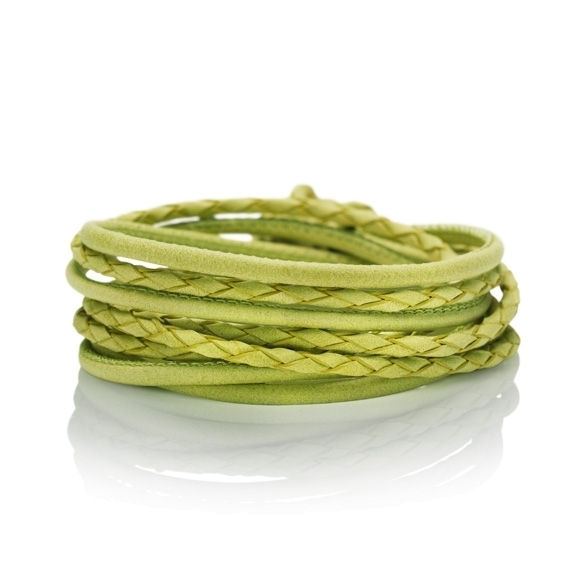 Armband Kalbsleder pistazie 4-reihig, Ø 3.0 mm, 42.0 cm