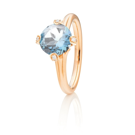 "Ring ""Capriccio"" 750RG, Topas sky blue Ø 8.0 mm ca. 2.75ct, 14 Diamanten Brillant-Schliff 0.07ct TW/vs"