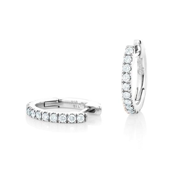 "Ohrcreolen ""Diamante in Amore"" 750WG, 22 Diamanten Brillant-Schliff 0.26ct TW/vs1"