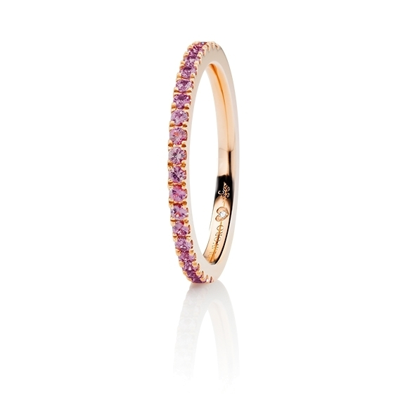 "Memoirering ""Diamante in Amore"" 750RG, 21 Saphir pink pinkt light facettiert ca. 0.30ct, 1 Diamant Brillant-Schliff 0.005ct TW/vs1"