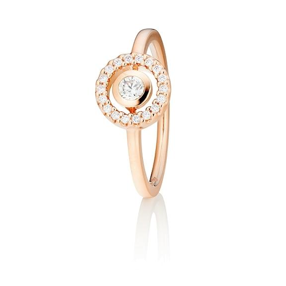 "Ring ""Glam Motion"" 750RG, 1 Diamant Brillant-Schliff 0.15ct TW/si, 18 Diamanten Brillant-Schliff 0.10ct TW/si"