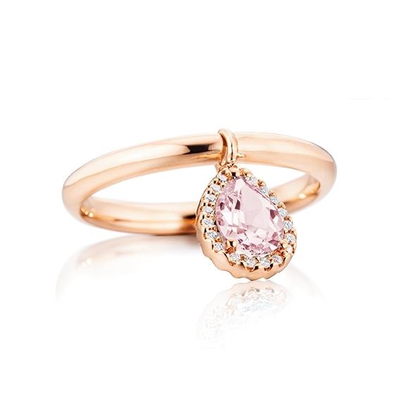 """Ring """"Espressivo"""" 750RG, Rosenqaurz Tropfen  facettiert 7x5 mm ca. 0.60ct, 19 Diamanten Brillant-Schliff 0.05ct TW/si, mit beweglichen Element"""