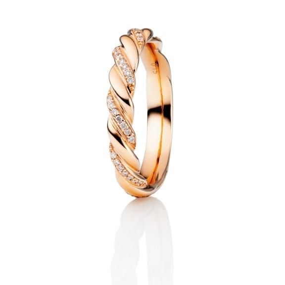 """Ring """"Classico"""" 750RG gedreht, 42 Diamanten Brillant-Schliff 0.15ct TW/si"""