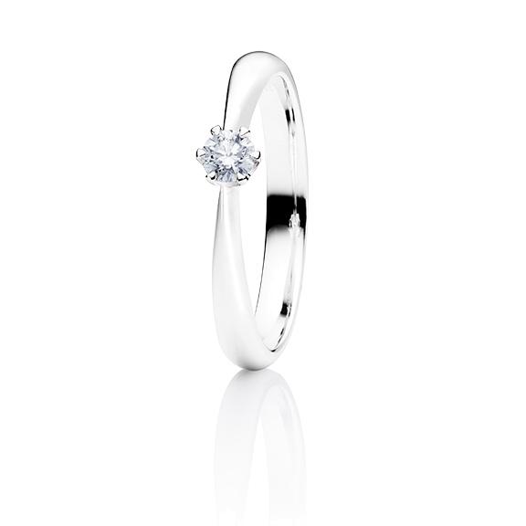 """Ring """"Classico"""" 750WG 6-er Krappe, 1 Diamant Brillant-Schliff 0.25ct TW/si"""