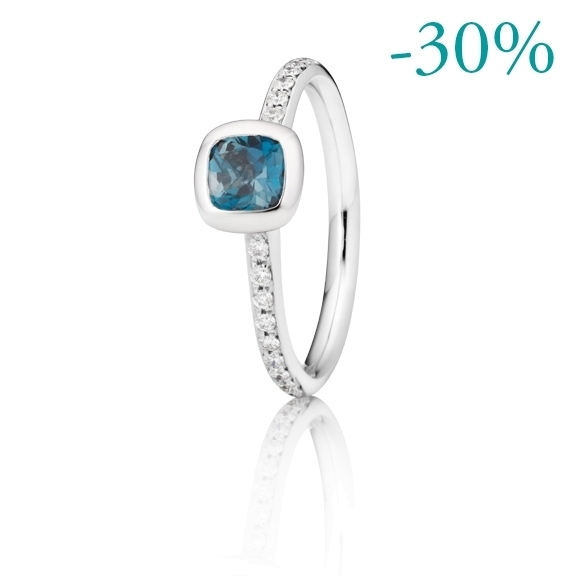 "Ring ""Piccolo Mondo"" 750WG Topas London blue facettiert  4.8 mm ca. 0.60ct, 18 Diamanten Brillant-Schliff 0.15ct TW/vs"
