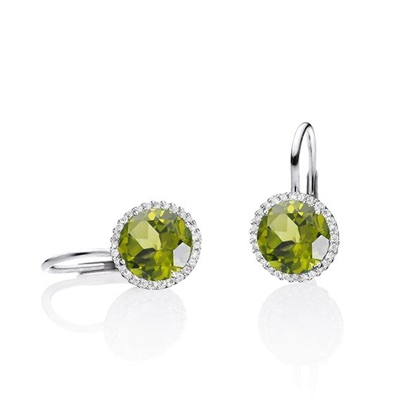 "Ohrhänger ""Espressivo"" 750WG, Peridot facettiert Ø 9.0 mm, 56 Diamanten Brillant-Schliff 0.20ct TW/si"