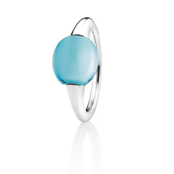 "Ring ""Tramonto"" 750WG, Topas sky blue Cabochon 9.0 x 10.0 mm ca. 4.00ct"
