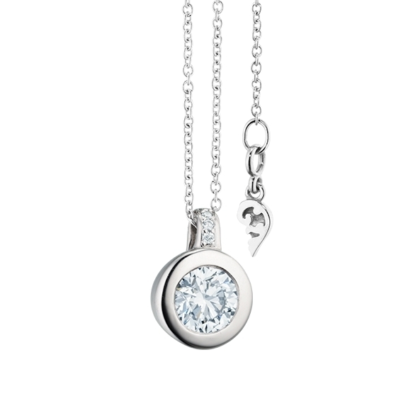 """Collier """"Diamante in Amore"""" 750WG Zargenfassung, Brillantöse, 1 Diamant Brillant-Schliff 0.60ct TW/vs1 GIA Zertifikat, 4 Diamanten Brillant-Schliff 0.02ct TW/vs1, Länge 45.0cm, Zwischenöse bei 42.0cm"""