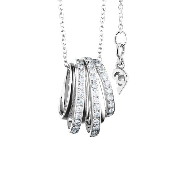 """Anhänger """"La Donna"""" 750WG, 38 Diamanten Brillant-Schliff 0.95ct TW/si"""