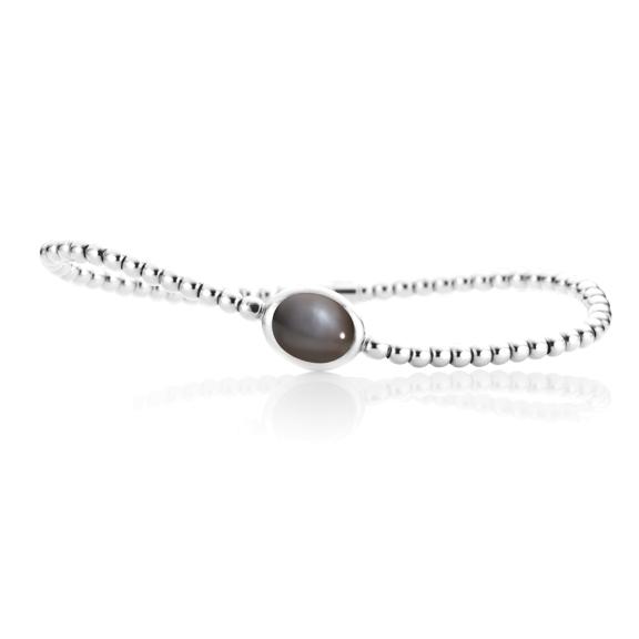 "Armband ""Velluto"" 750WG, Mondstein grau dunkel Cabochon 10.0 x 8.0 mm ca. 2.6ct, Innenumfang 17.0 cm"