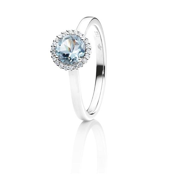 """Ring """"Espressivo"""" 750WG, Aquamarin hell facettiert Ø 6.0 mm ca. 0.73ct, 22 Diamanten Brillant-Schliff 0.06ct TW/si1"""