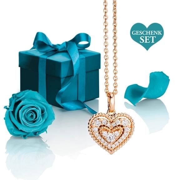 """Geschenkset """"Valentine 2"""", Anhänger 750RG, 21 Diamanten Brillant-Schliff 0.18ct TW/si mit exklusiver Geschenkverpackung und einer ewigen Rose"""