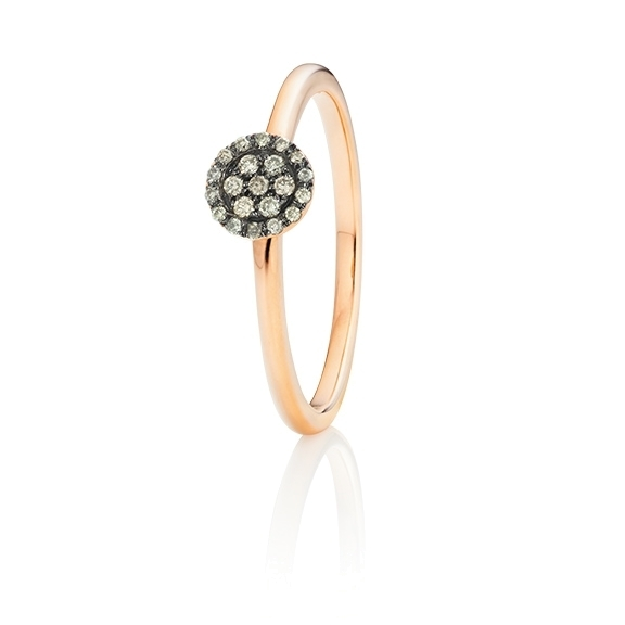 "Ring ""Dolcini"" 750RG, 21 Diamanten Brillant-Schliff 0.10ct light brown"