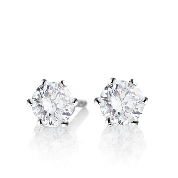 "Ohrstecker ""Diamante in Amore"" 750WG 6-er Krappe, 2 Diamanten Brillant-Schliff á 0.70ct TW/si1 GIA Zertifikat"
