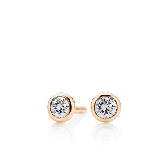 """Ohrstecker """"Classico"""" 750RG Zargenfassung, 2 Diamanten Brillant-Schliff 0.40ct TW/si"""