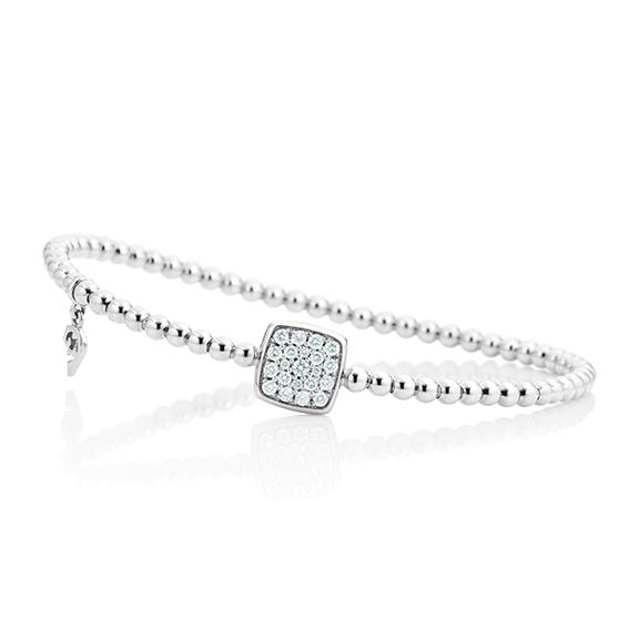 "Armband ""Dolcini Quadrat"" 750WG, 21 Diamanten Brillant-Schliff 0.29ct TW/vs, Innenumfang 17.0 cm"
