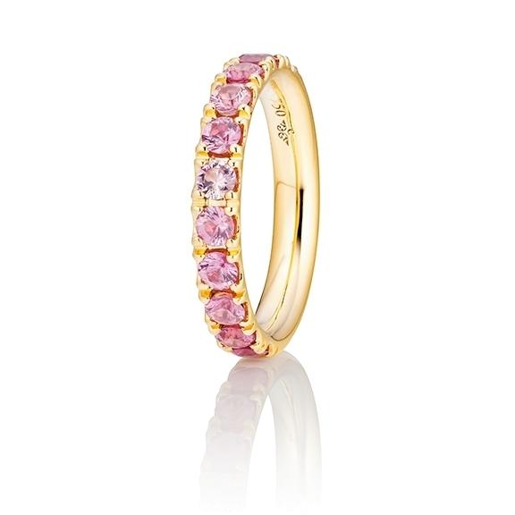 "Ring ""Rainbow"" 750GG, 11 Saphire pink ca. 1.50ct, 1 Diamant Brillant-Schliff 0.005ct TW/vs1"