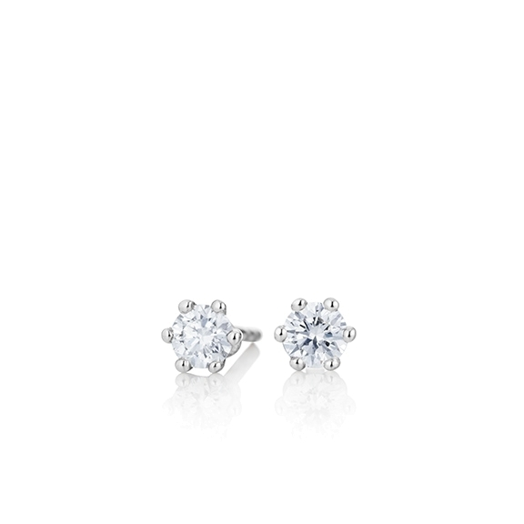 "Ohrstecker ""Diamante in Amore"" 750WG 6-er Krappe, 2 Diamanten Brillant-Schliff 0.3ct TW/vs1"
