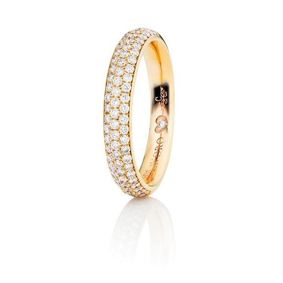 """Ring """"Diamante in Amore"""" 750GG Pavé, 76 Diamanten Brillant-Schliff 0.60ct TW/vs1, 1 Diamant Brillant-Schliff 0.005ct TW/vs1"""