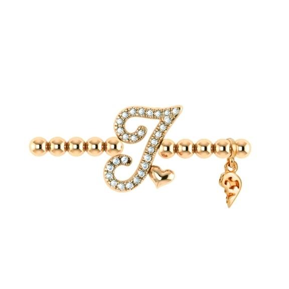 "Armband ""Poesia"" 750GG, Buchstabe ""I"", 28 Diamanten Brillant-Schliff 0.10ct TW/vs1, Innenumfang 18.0 cm"