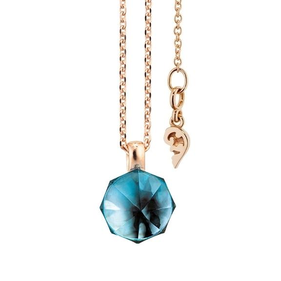 """Collier """"My Sunshine"""" 750RG, Topas London blue Cabochon ca. 3.70ct, 8.90 x 8.90 mm facettiert mit Ankerkette Länge 45cm, Zwischenöse bei 42cm"""