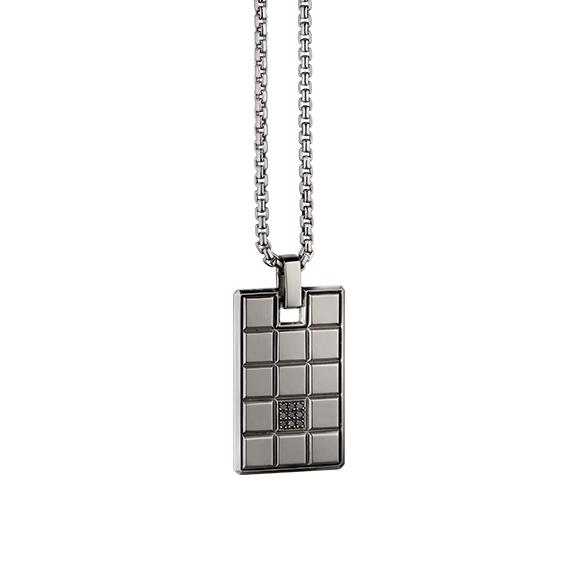 """Anhänger """"Rocks"""" 750WG, 9 Diamanten Brillant-Schliff 0.05ct schwarz behandelt"""