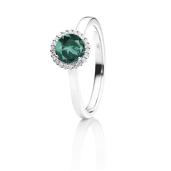"Ring ""Espressivo"" 750WG, Turmalin Petrol facettiert Ø 6.0 mm ca. 0.72ct, 22 Diamanten Brillant-Schliff 0.06ct TW/si1"