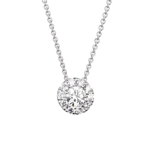 "Anhänger ""Brillantissimo"" 750WG, 1 Diamant Brillant-Schliff 0.33ct TW/vs, 10 Diamanten Brillant-Schliff 0.27ct TW/vs"
