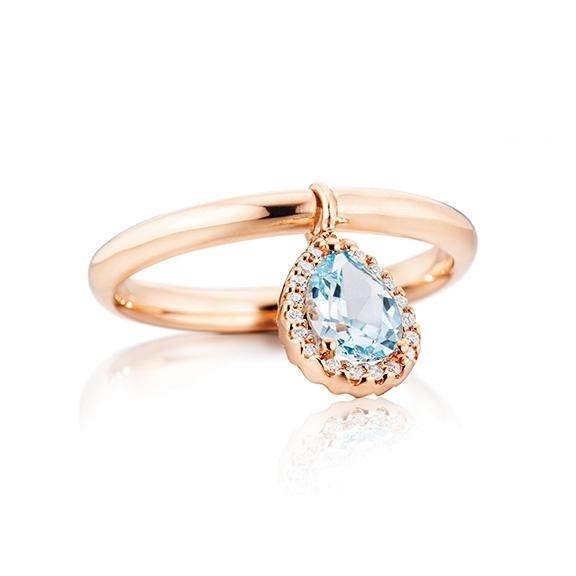 """Ring """"Espressivo"""" 750RG, Topas Tropfen sky blue facettiert 7x5 mm ca. 0.90ct, 19 Diamanten Brillant-Schliff 0.05ct TW/si, mit beweglichen Element"""