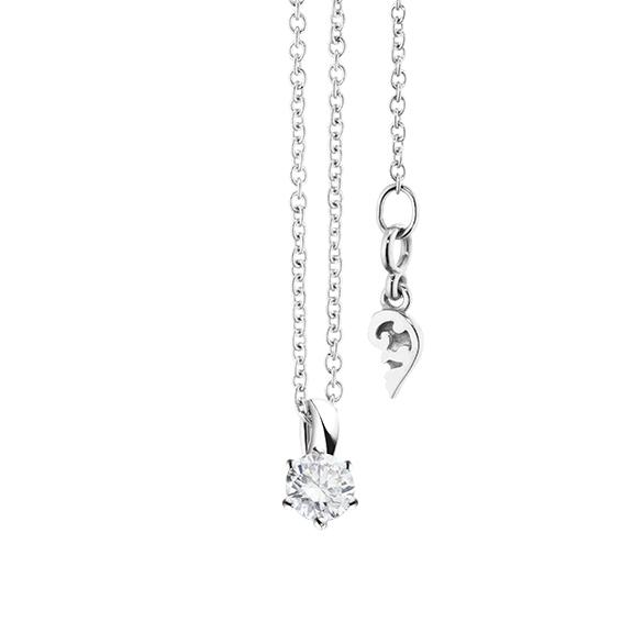 """Collier """"Diamante in Amore"""" 750WG 6-er Krappe, Schlaufe, 1 Diamant Brillant-Schliff 0.20ct TW/vs1, Länge 45.0 cm, Zwischenöse bei 42.0 cm"""