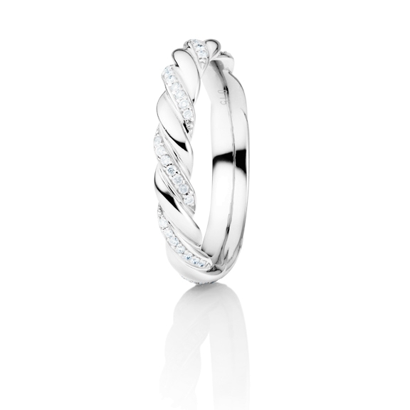 "Ring ""´Fantasia"" 750WG gedreht, 42 Diamanten Brillant-Schliff 0.15ct TW/si"