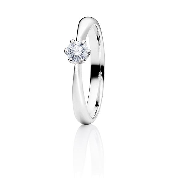 """Ring """"Classico"""" 950 Platin 6-er Krappe, 1 Diamant Brillant-Schliff 0.30ct TW/vs1 GIA"""