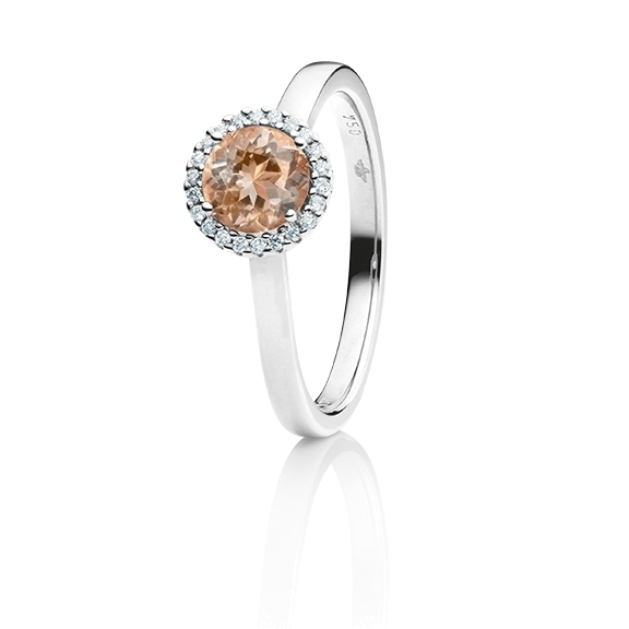 "Ring ""Espressivo"" 750WG, Zimt Beryll facettiert Ø 6.0 mm ca. 0.85ct, 22 Diamanten Brillant-Schliff 0.06ct TW/si1"