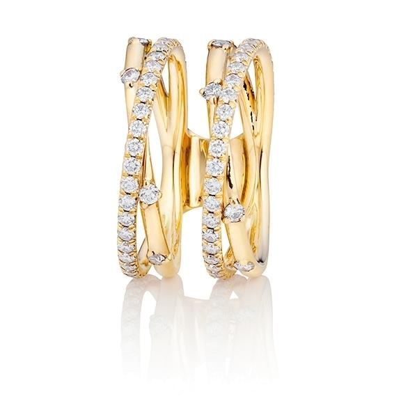"""Ring """"Jaquet"""" 750/-GG, 74 Diamanten Brillant-Schliff 0.39ct TW/vs1"""
